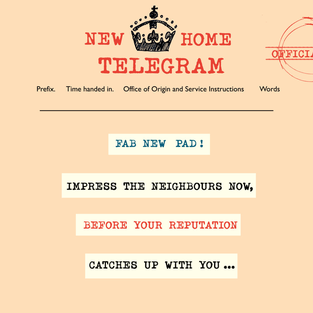 'New Home' Greetings Card, Telegraphic