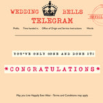 'Wedding Bells' Greetings Card,Telegraphic