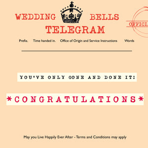 Load image into Gallery viewer, 'Wedding Bells' Greetings Card,Telegraphic