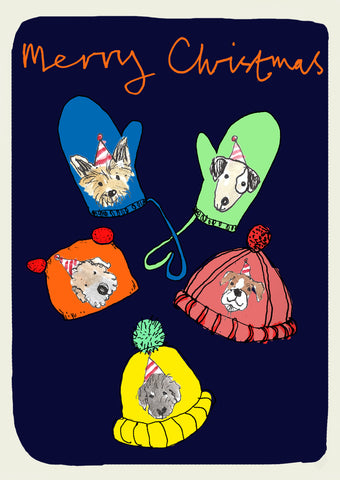 Dogs in Gloves Pack of 6 Christmas Cards FP996