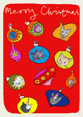 Cats in Baubles Pack of 6 Christmas Cards FP999