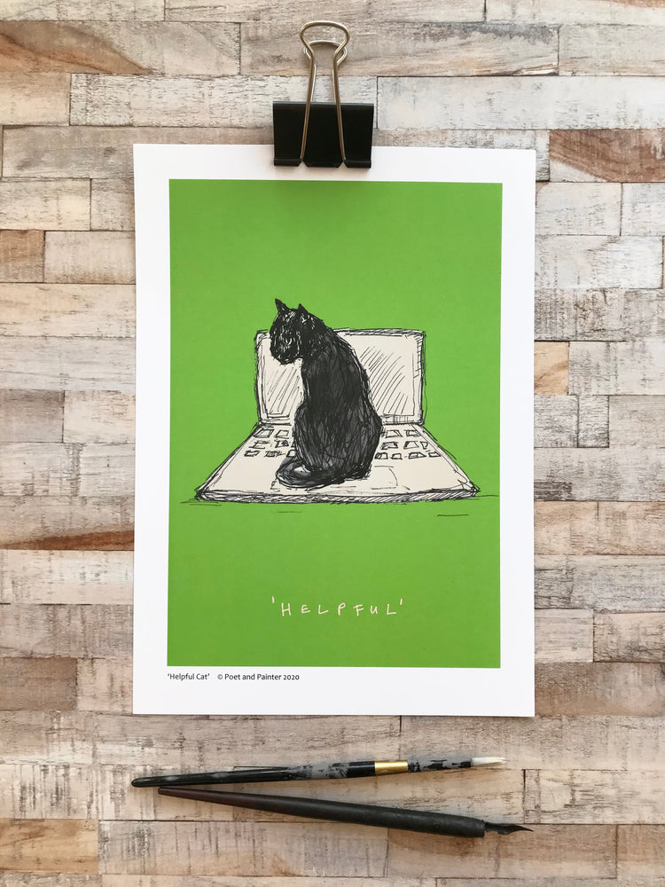 'Helpful Cat' Art Print