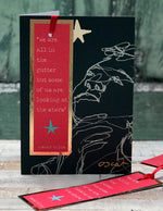 'Looking At Stars, Oscar Wilde' Greetings Card with foiled bookmark