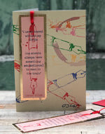 'Sensational Diary, Oscar Wilde' Greetings Card with foiled bookmark