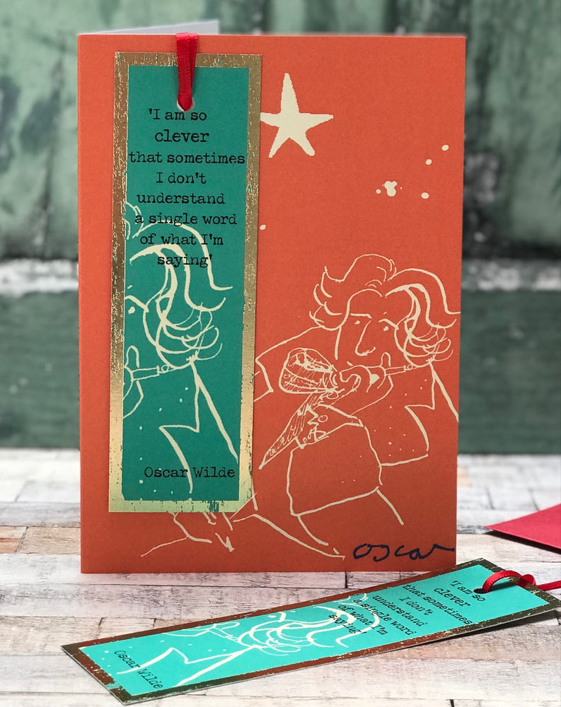 'So Clever, Oscar Wilde' Greetings Card with foiled bookmark