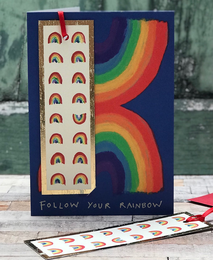' Follow Your Rainbow ' Greetings Card with foiled bookmark