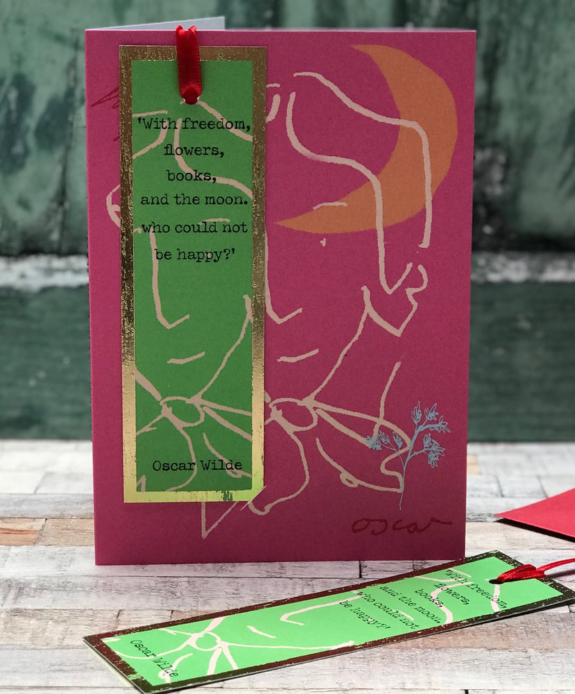 'Freedom,Flowers,Books Oscar Wilde' Greetings Card with foiled bookmark