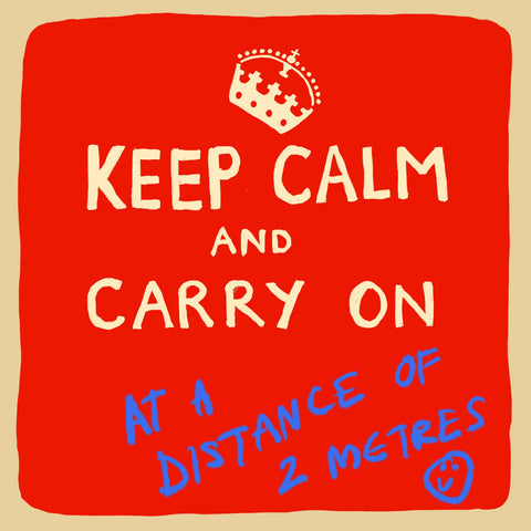 'Keep Calm At a Distance' Greetings Card, Studio
