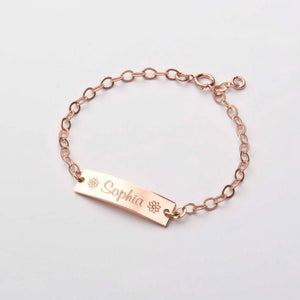 Baby bracelet on white background