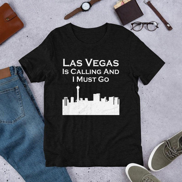 T-shirt - Las Vegas City Skyline Short-Sleeve Unisex T-Shirt, Las Vegas Is Calling Tshirt, Relocation Gift, Moving To Vegas Gift, New Job Shirt.