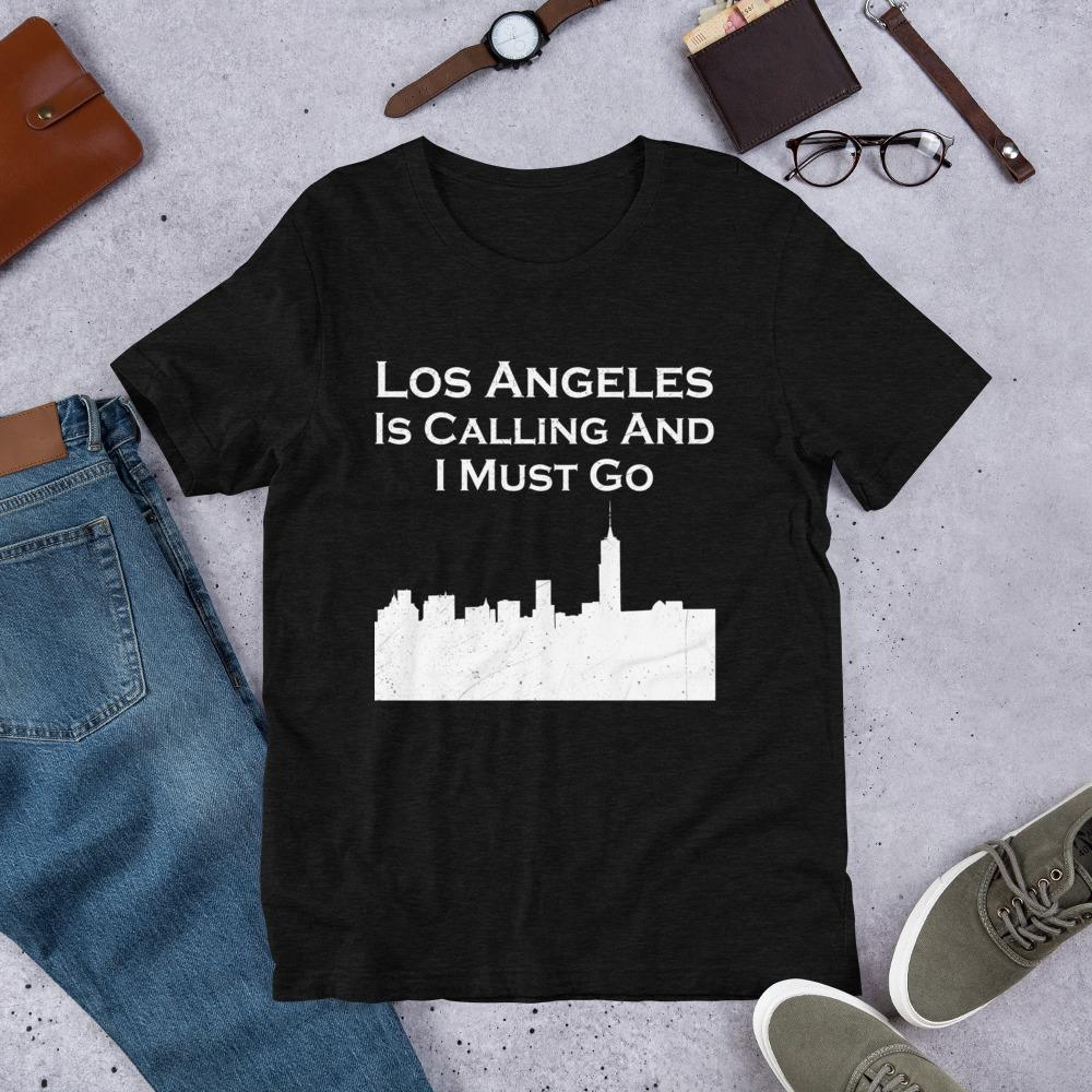T-shirt - Los Angeles City Skyline Short-Sleeve Unisex T-Shirt, Relocating Shirt, New Job Gift, Moving Away Gift.