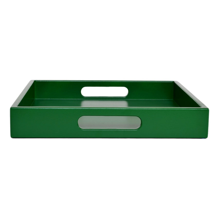 Large green ottoman coffee table tray with handles