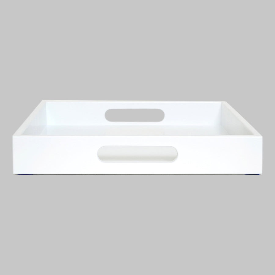 Gentil White Ottoman Coffee Table Tray; White Tray With Handles ...