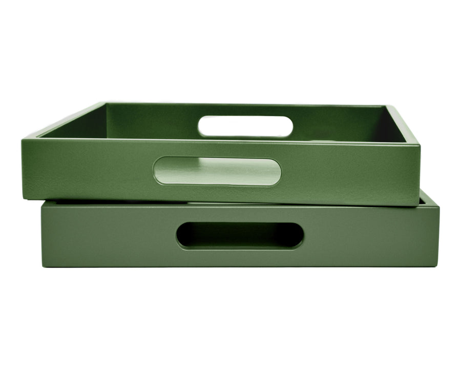 Shaded Green Tray with Handles