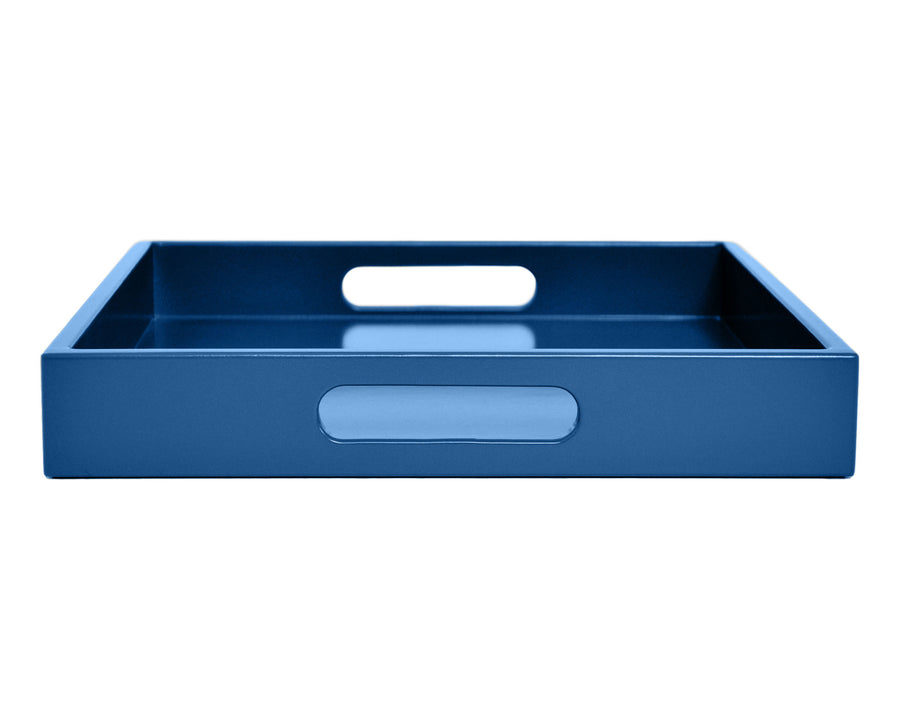 Blue large ottoman coffee table tray with handles