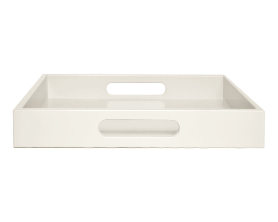 Bone Off White Large Ottoman Coffee Table Tray with Handles