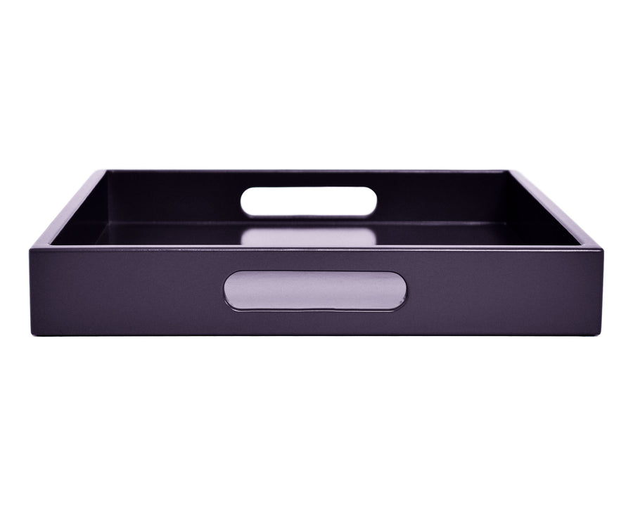 ... Dark Purple Coffee Table Ottoman Tray With Handles ...