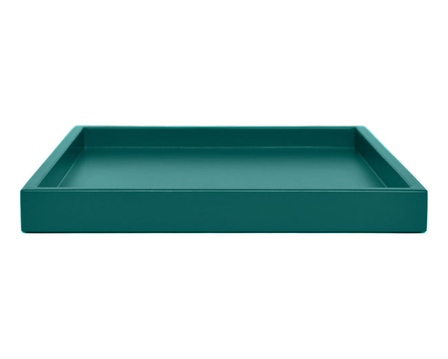 dark teal low profile ottoman coffee table tray