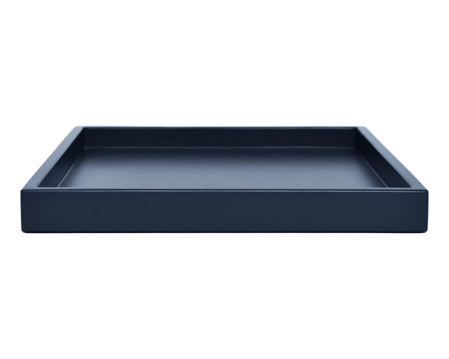 Dark blue low profile large ottoman tray