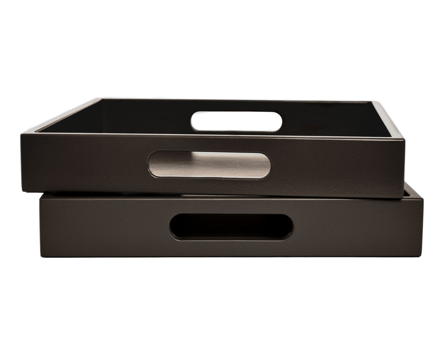 Dark Brown Tray with Handles