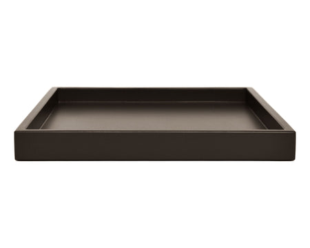 Dark brown low profile large ottoman coffee table tray