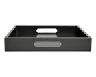 Dark gray large ottoman tray with handles