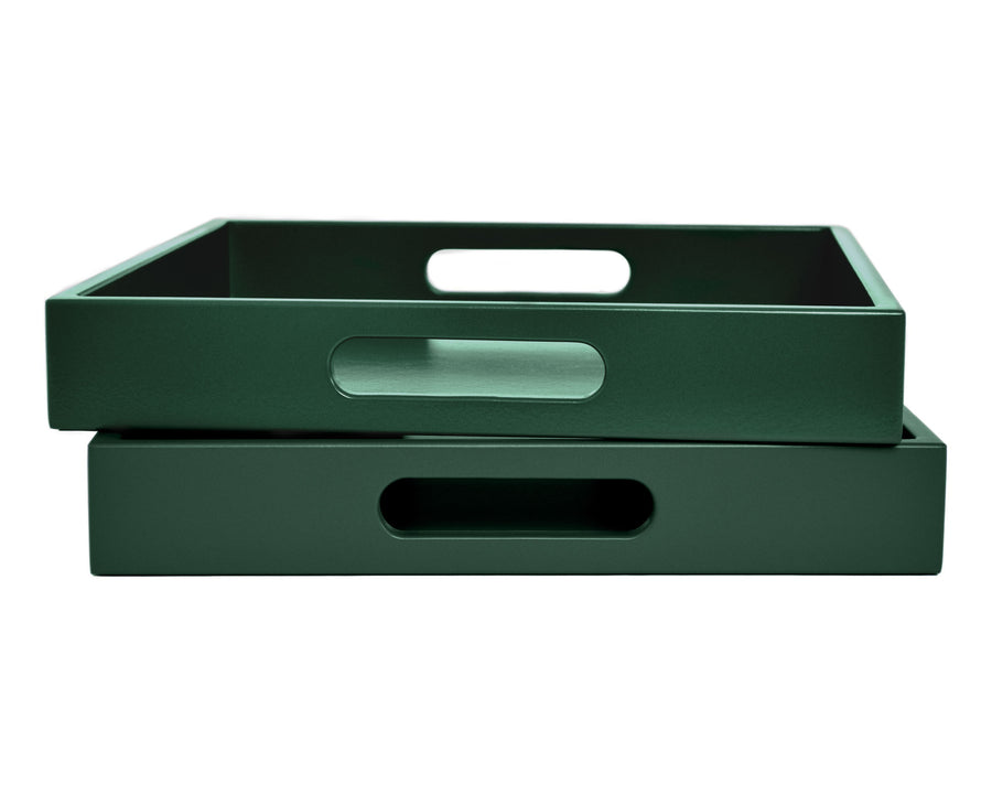 Dark Green Tray with Handles