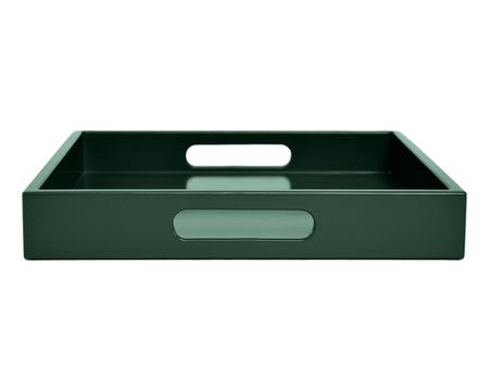 Dark green large ottoman coffee table tray with handles