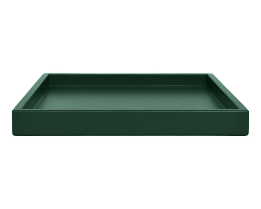 Dark green low profile large ottoman coffee table tray