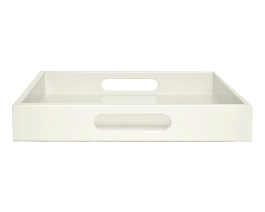 Ivory large ottoman coffee table tray with handles