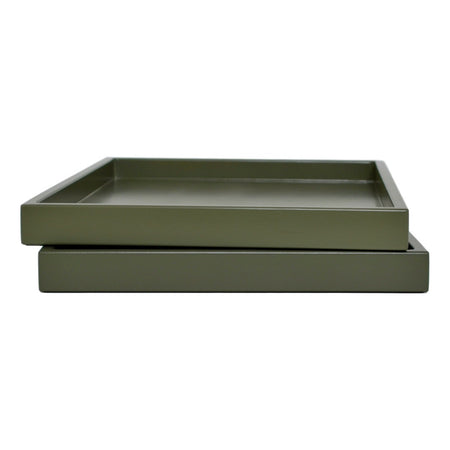 olive green low profile lacquer tray