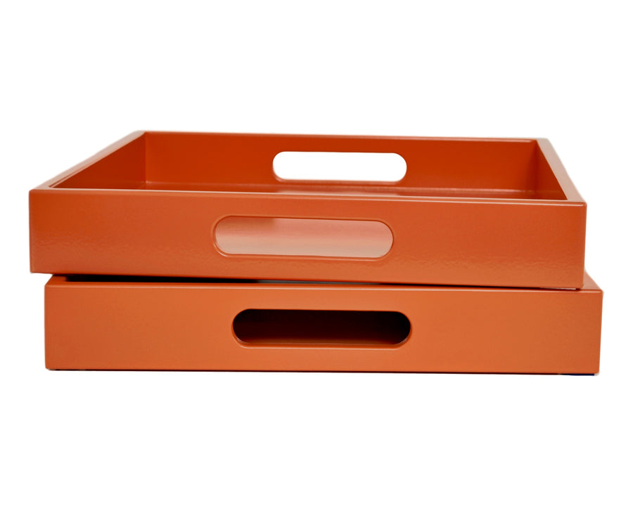 Orange Lacquer Tray with Handles