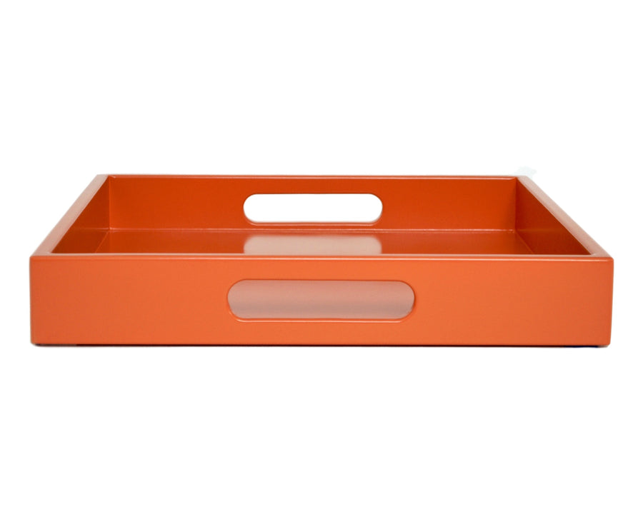 orange ottoman coffee table tray with handles