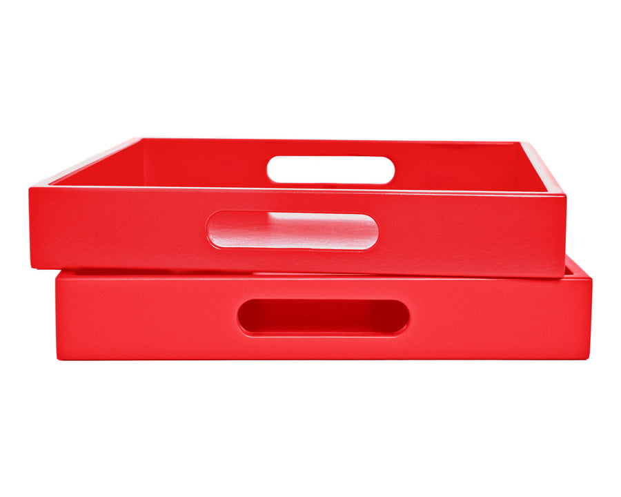 Red Tray with Handles