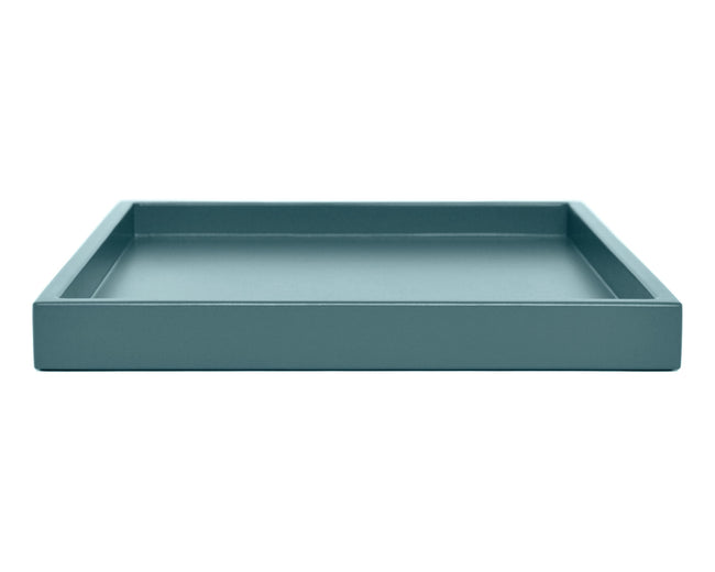 shaded blue low profile ottoman coffee table tray