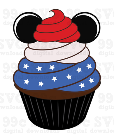 4th of July Mickey Cupcake SVG