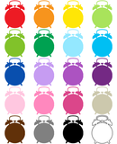 Alarm Clock 20 Color Clip Art Preview
