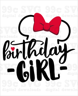Minnie Ears Birthday Girl SVG