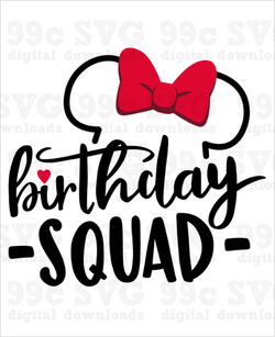 Minnie Ears Birthday Squad SVG