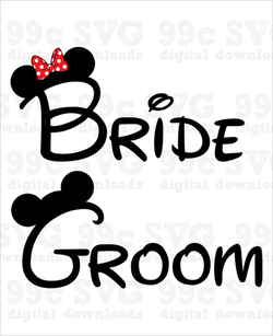 Bride & Groom Mickey Minnie SVG