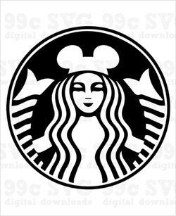 Starbucks Siren with Mickey Ears Coffee Logo SVG