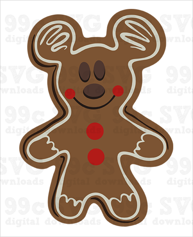 Mickey Gingerbread Cookie SVG