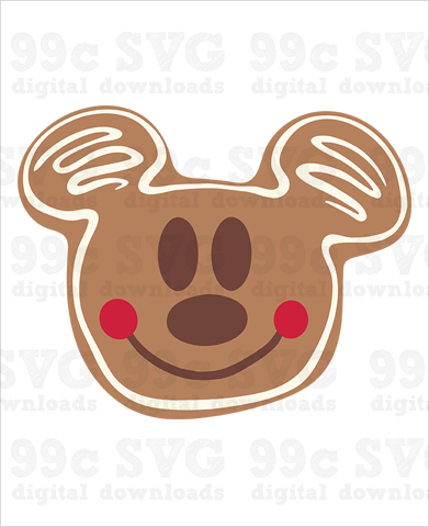 Mickey Gingerbread Face Cookie SVG