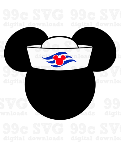 Mickey Mouse Sailor Hat SVG