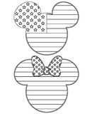 Mickey and Minnie Mouse Americana SVG Outline