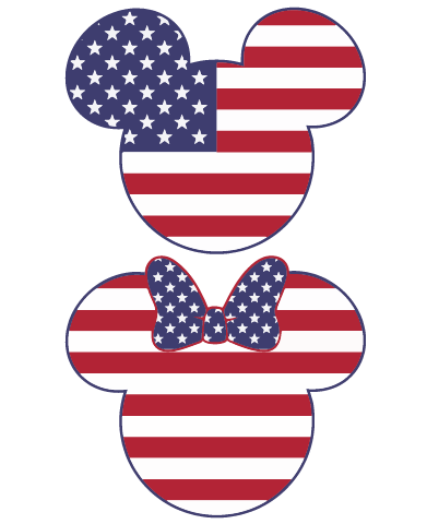 Mickey and Minnie Mouse Americana SVG