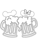 Mickey and Minnie Mouse Beer Mugs SVG Outline