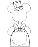 Mickey and Minnie Mouse Bridal SVG Outline