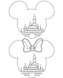 Mickey and Minnie Mouse Magic Castle SVG Outline