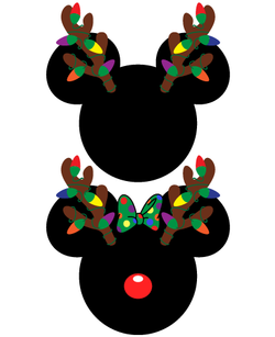 Mickey and Minnie Mouse Christmas Antlers SVG
